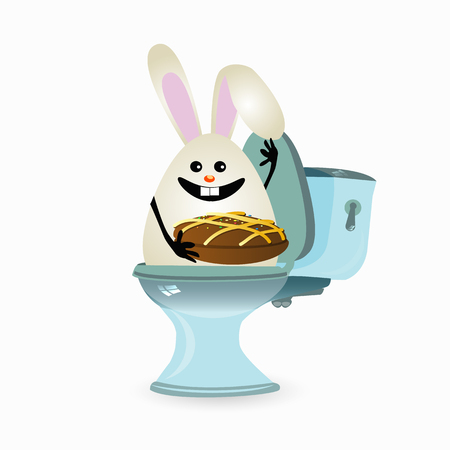 constipation, haemorrhoids and abdominal pain. conception of stomach and gas. malnutrition. diet. funny comic rabbit on the toilet ceramic. funny rabbit with chocolate cake
