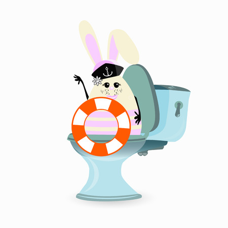 belt up: A constipation, haemorrhoids and abdominal pain. conception of stomach and gas. malnutrition. diet. funny comic rabbit on the toilet ceramic. funny rabbit with life ring and sailor cap Illustration