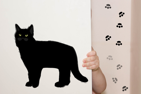 the child hides in the closet with black cat and traces
