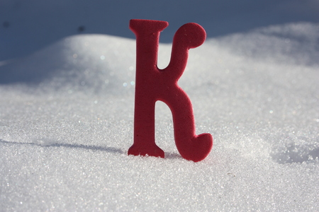 New Year's background. snow cloth. the letter k. photo for your design Reklamní fotografie - 87336787