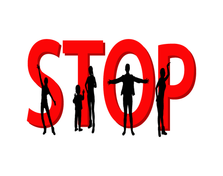 crime prevention: Stop violence against women and children vector illustration.