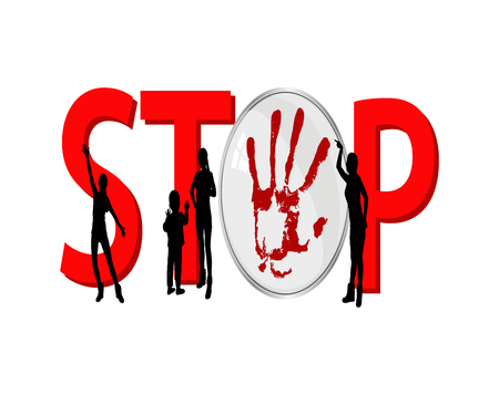 crime prevention: stop violence against women and children. women and children silhouettes with big red letters. illustration for your design Illustration