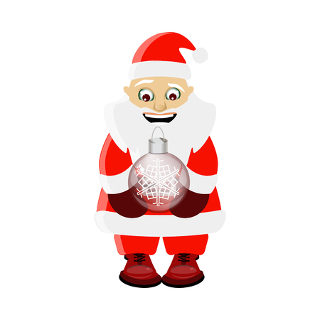 new year and christmas element. Santa Claus with a Christmas glass toy in his hands. on a white easily separable background. illustration for your design Illustration