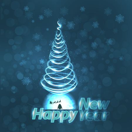 neon green: happy new year inscription neon with a cart Santa Claus and a Christmas tree on a blue background. illustration for your design Illustration