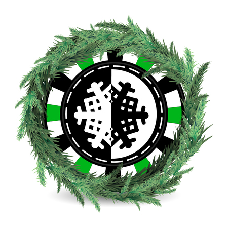 New Year and Christmas holiday. A casino chip with garland on white background.