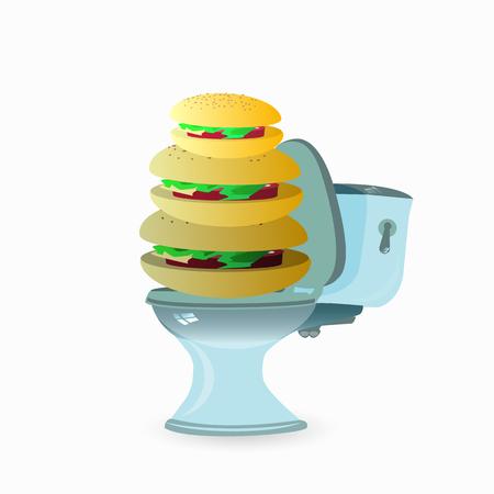 Burger on a bowl vector illustration for your design on plain background.
