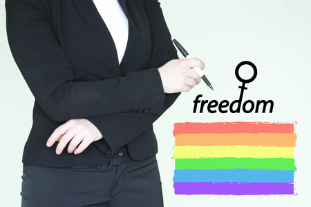 feminism woman concept. photo for your design. rainbow flag