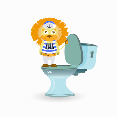 A childrens problem with the pot. vector illustration for your design. A lion on the toilet. Illustration
