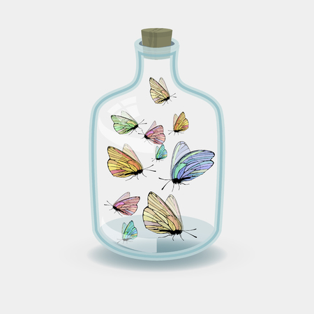 A butterflies in a jar concept of a caught idea.  vector illustration for your design