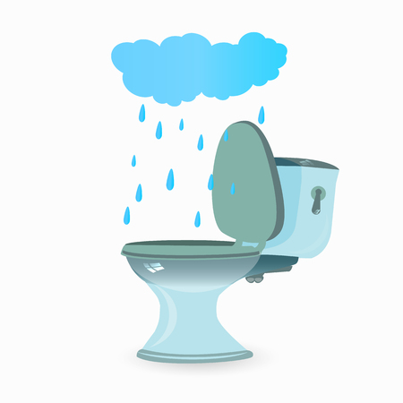 A urinary incontinence concept, cloud to fall into the toilet vector illustration for your design