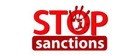 A stop sanctions concept.Illustration vector logo concept on white isolated background. Red and White. Illustration