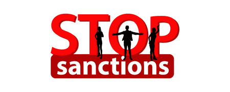 A stop sanctions concept. Illustration vector logo concept on white isolated background. Red and White. hands and people are strong Illustration