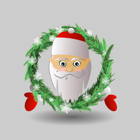 Santa Claus and Christmas wreath. The head of Santa Claus and his hands are apart. disco dance. illustration for your design