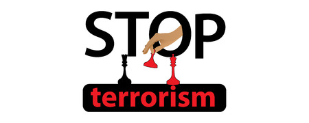 STOP TERRORISM CONCEPT. letters and arms of the blood.  illustration