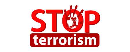 stop terrorism concept. illustration on white isolated background. the arm is bloody
