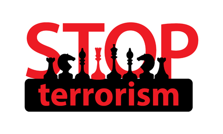 stop terrorism concept. illustration on white isolated background. Silhouettes of chess