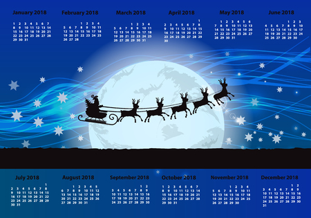 the calendar for 2018. horizontal orientation. night and silhouette of Santa Claus against the background of the moon Illustration