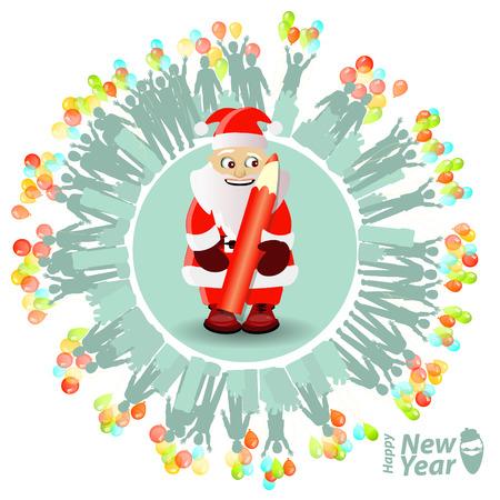 Tarjeta de Navidad. Papá Noel y lápiz rojo. lista de regalos. personas con globos. Ilustración, vector para su diseño