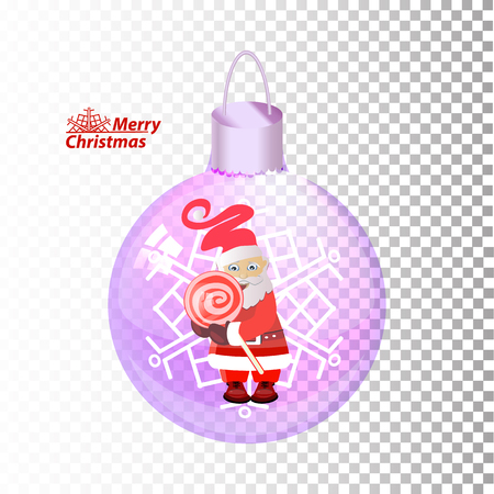 Santa Claus with a candy inside a Christmas ball   vector illustration