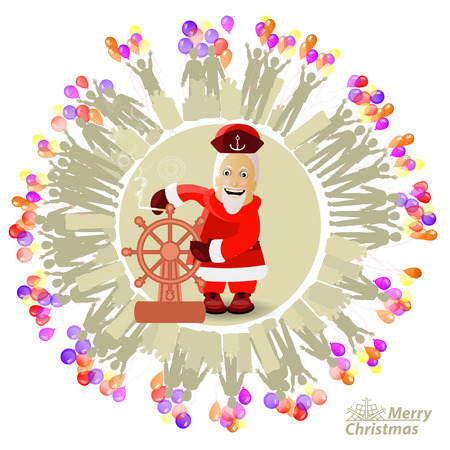 Santa Claus as a captain steer wheel ship circled with people with balloons vector illustration