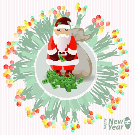 Christmas card. santa claus and bundles