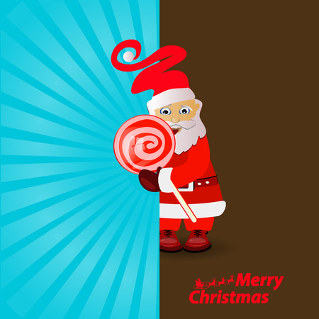 Holiday card with Santa Claus holding candy design Illustration
