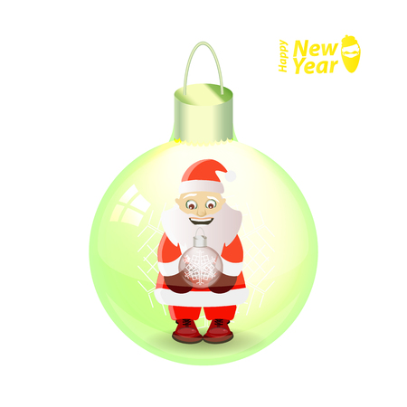 Santa claus with a New Years ball in hands in a glass New Years ball. vector illustration for your design on a white background Illustration