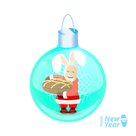 Santa Claus in rabbits ears, with a cake in his hands, in a glass New Years ball. vector illustration for your design on a white background