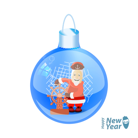 Santa claus captain with a ship steering wheel in a glass New Years ball. vector illustration for your design on a white background Illustration