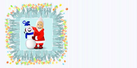 Santa Claus and a snowman in a square with a place empty under your text. Vector illustration for your design.