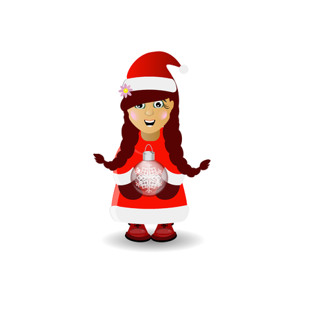 Mrs. Santa Claus with a ball Christmas tree toy. Vector illustration for your design.