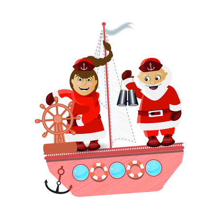 miiss santa claus and santa claus on a ship journey. illustration for your design. vector on white isolated background Illustration