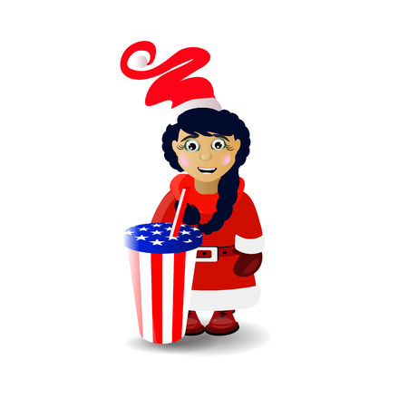 Mrs. Santa Claus and soda glass. illustration for your design. vector on white isolated background Illustration