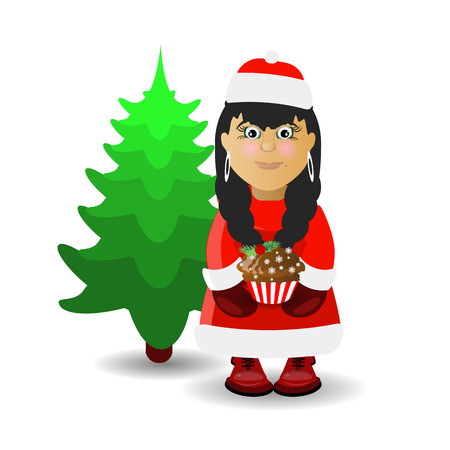 Mrs. Santa Claus and the Christmas tree. illustration for your design. vector on white isolated background