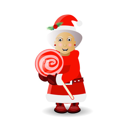 mrs. santa claus and caramel on a stick round. illustration for your design. vector on white isolated background
