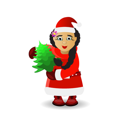 Mrs. Santa Claus with a tree in her hands. illustration for your design. vector on white isolated background