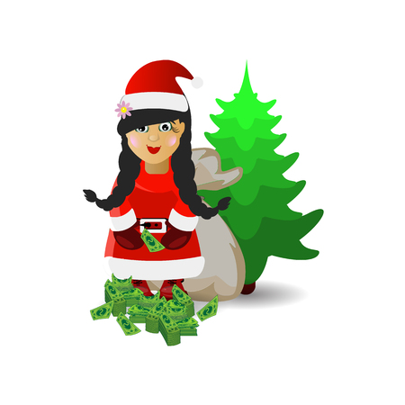 Mrs. Santa Claus with a bag of money. illustration for your design. vector on white isolated background