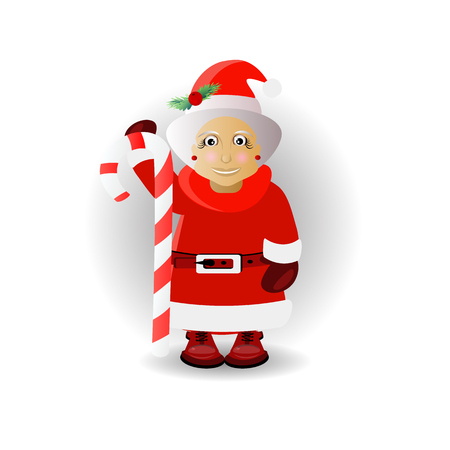 miiss santa claus with caramel wand. illustration for your design. vector on white isolated background