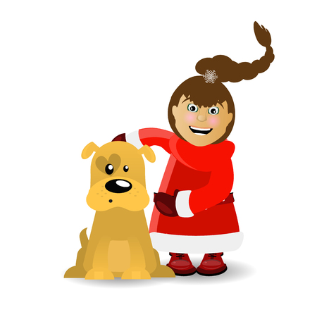 dog symbol of the new year 2017 with Mrs Illustration