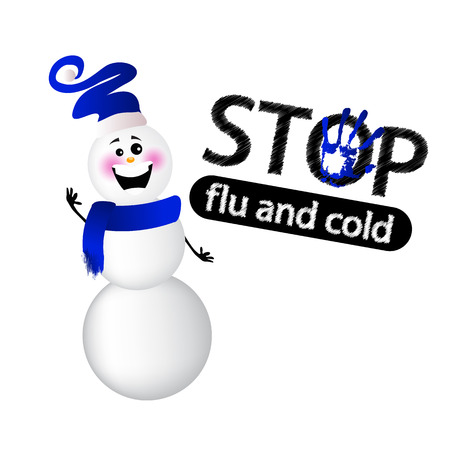 Flu stop and cold with snowman