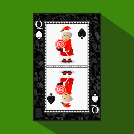card New Years poker. vector illustration. queen club. Miss Santa Claus and Aramel on Stick