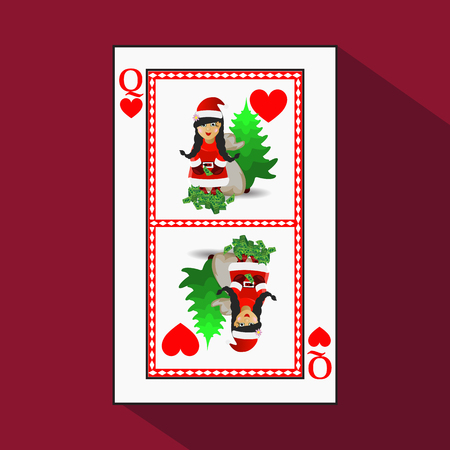 card New Years poker. vector illustration. queen heart. Miss Santa Claus with a bag of money and a Christmas tree