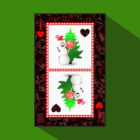 Cartão de poker de Ano Novo. ilustração do vetor coração de palhaço. boneco de neve com caramelo e árvore de natal Foto de archivo - 91027221
