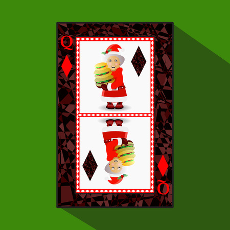 card New Years poker. vector illustration. queen diamond. Miss Santa Claus with a Hamburger Illustration