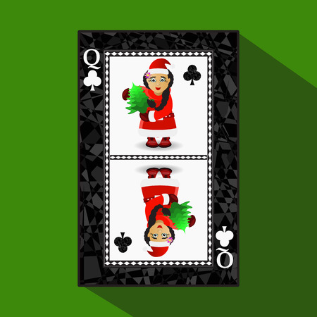card New Years poker. vector illustration. queen club. Miss Santa Claus and Christmas tree