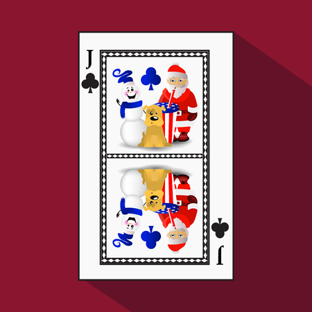 card New Year's poker. vector illustration. joker club. symbol of the year 2018, a dog with santo klaus drinking soda and a snowman Иллюстрация