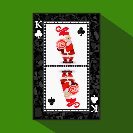 card New Year's poker. vector illustration. queen club. miss santa claus and caramel on a stick