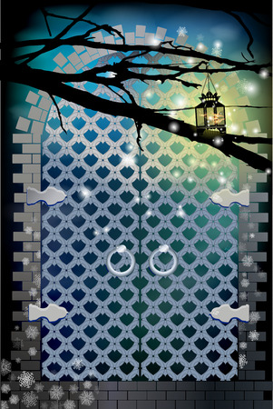 gate from metal. blue color. a lantern on a tree branch lights up.