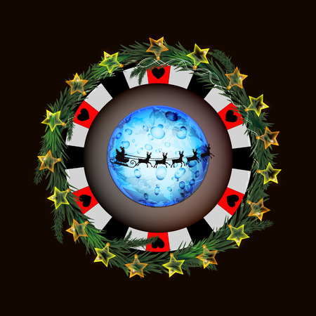 Poker chip with glowing lantern and santa claus on a sleigh design on a dark background.