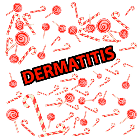 Dermatitis inscription with sweets and caramel design Illustration